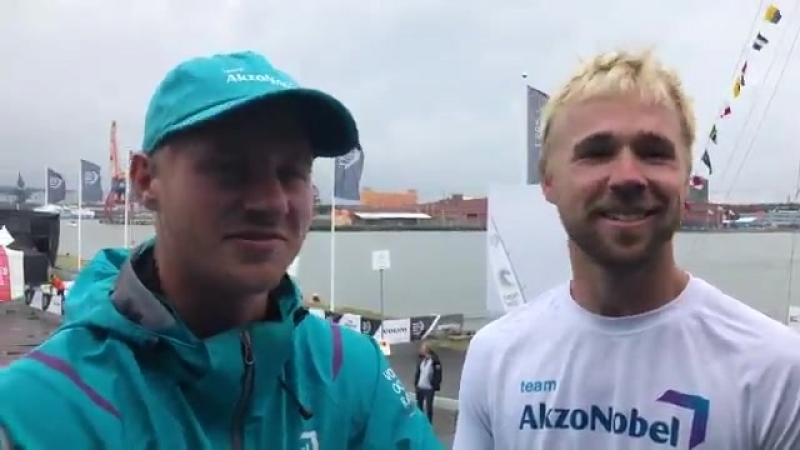 Enjoy a bit of boaty banter from Team AkzoNobel sailors Nicolai Sehested and Brad Farrand before the start of the Volvo Ocean Ra