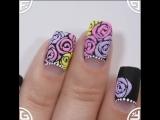 Бархатные розы гель-лаками и цветным песком