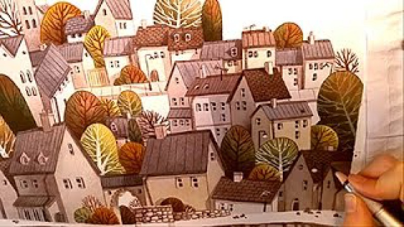Watercolor Illustration village collaboration with pearfleur Painting by Iraville