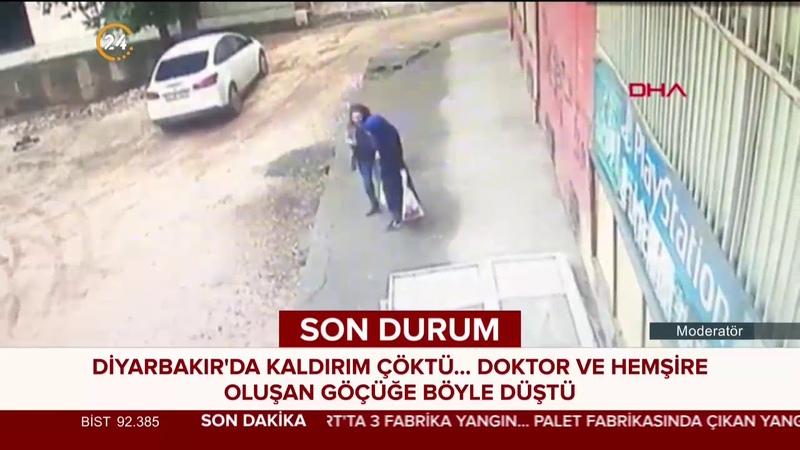 Diyarbakır'da kaldırım çöktü