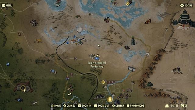 Eastern Regional Penitentiary на карте в Fallout 76