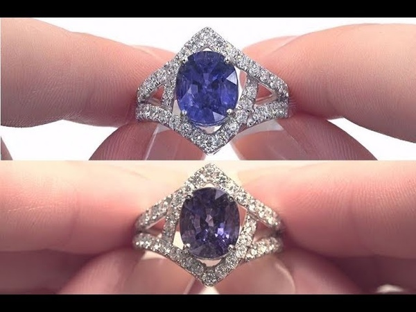Blue to Violet Color Change Sapphire Diamond Ring 18k White Gold HGT Certified 6 10 tcw C1131