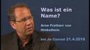 Was ist ein Name? Arne Freiherr von Hinkelbein Jo Conrad | 21.4.2018