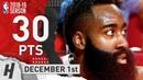 James Harden Full Highlights Rockets vs Bulls 2018.12.01 - 30 Pts, 7 Ast, 6 Rebounds!
