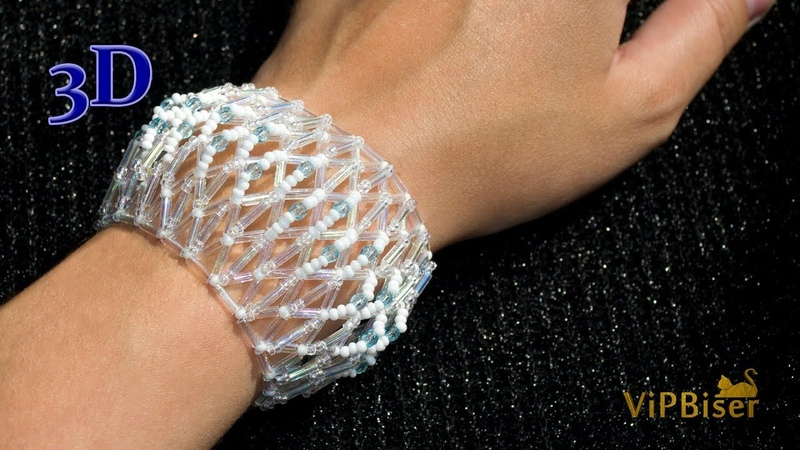 Simple and Delicate Beaded Bracelet with Bugle Beads. 3D Beading Tutorial