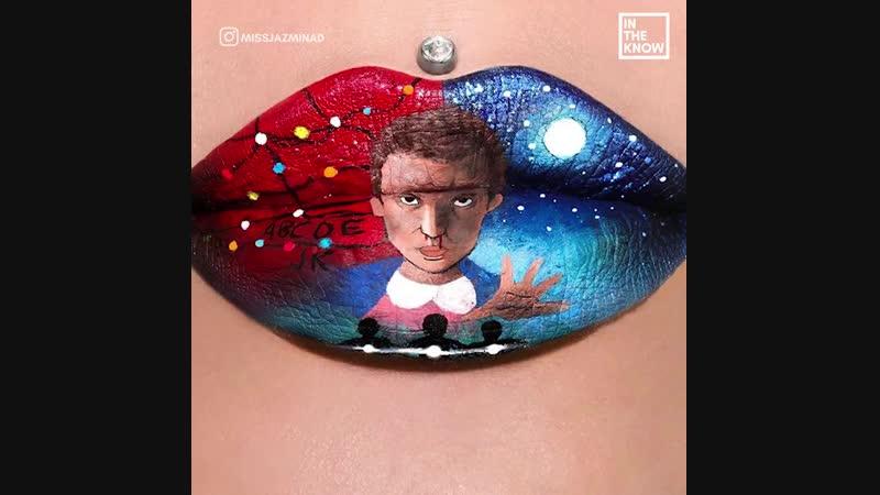 Эта художница рисует на губах кадры из популярных фильмов, мультфильмов и просто известные сцены из жизни ??