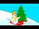 Раскраска из Мультфильма - санки, снеговик и зайка под ёлкой - учим цвета