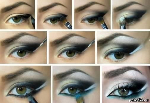 Вечерний макияж для карих глаз и мелированых волос