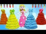 Learn Colors with Disney Princess Aurora  Bad Baby Change Dress Play Doh Stop Motion