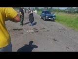 Cлавянск утро 17 05 2014 район Машмет. Уничтоженный блокпост колорадов!