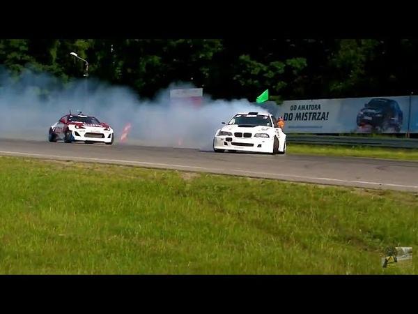 BMW E46 M3 V8 650KM S65B40 Stolarek Motosport Driftingowe Mistrzostwa Polski 2018 r2 Tor Kielce