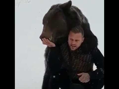Рэпер Kontra K. с медведем из Москвы на съемках клипа I 8(965)380-13-11 Москва