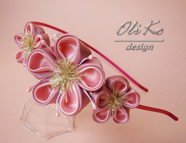 Японские цветы из ткани мастер класс + видео #1