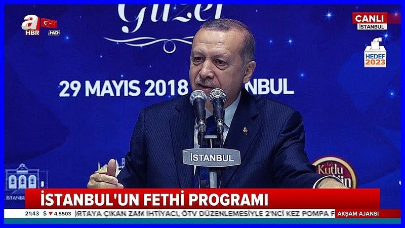 Cumhurbaşkanı Erdoğanın 29 Mayıs İstanbulun Fethi Özel Programı Konuşması 29 Mayıs 2018