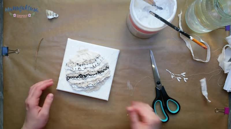 Bombka mixed media na blejtramie - tutorial DIY