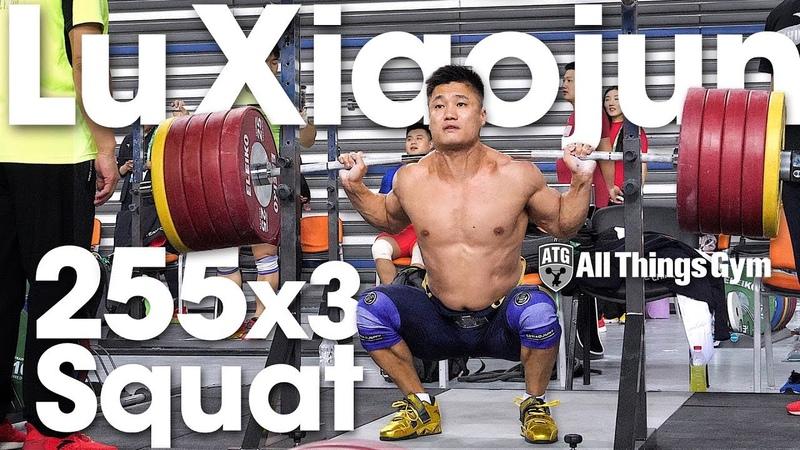 Lu Xiaojun 🇨🇳 255kg 562lbs x3 Squat Session 2018 World Championships Training Hall [4k]