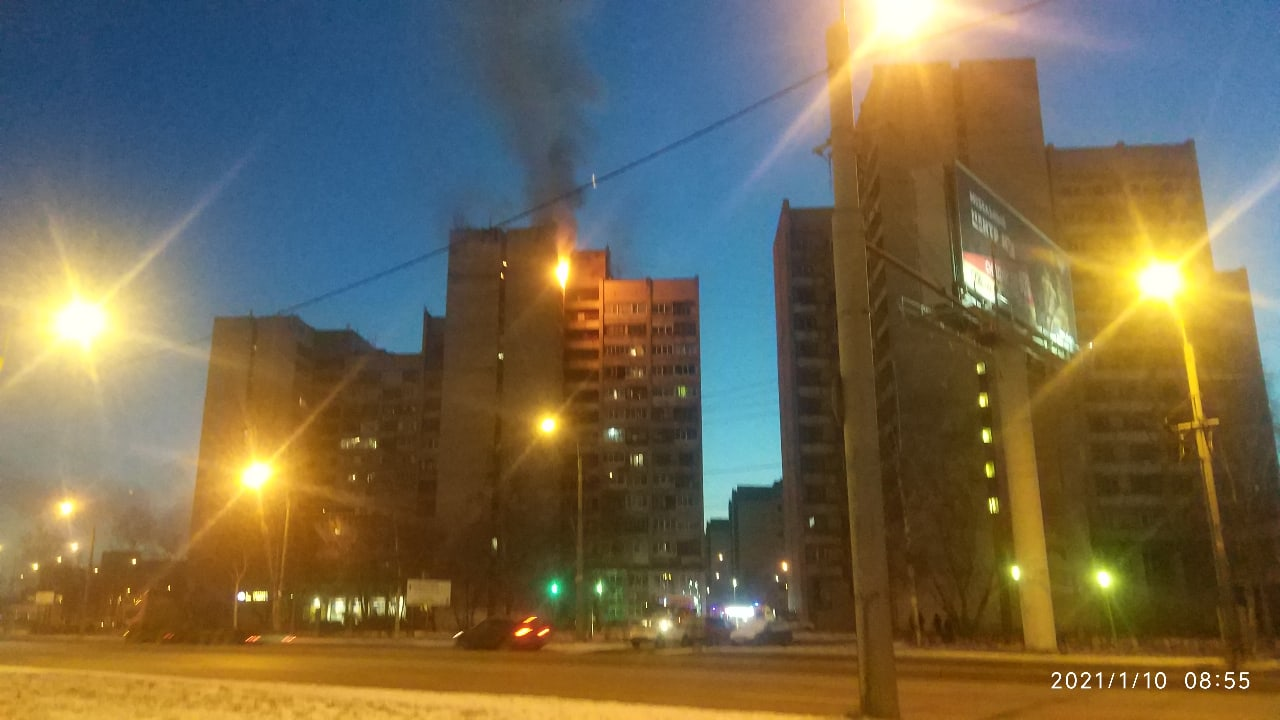 Пожар на 14 этаже дома 22 по Маршала Жукова