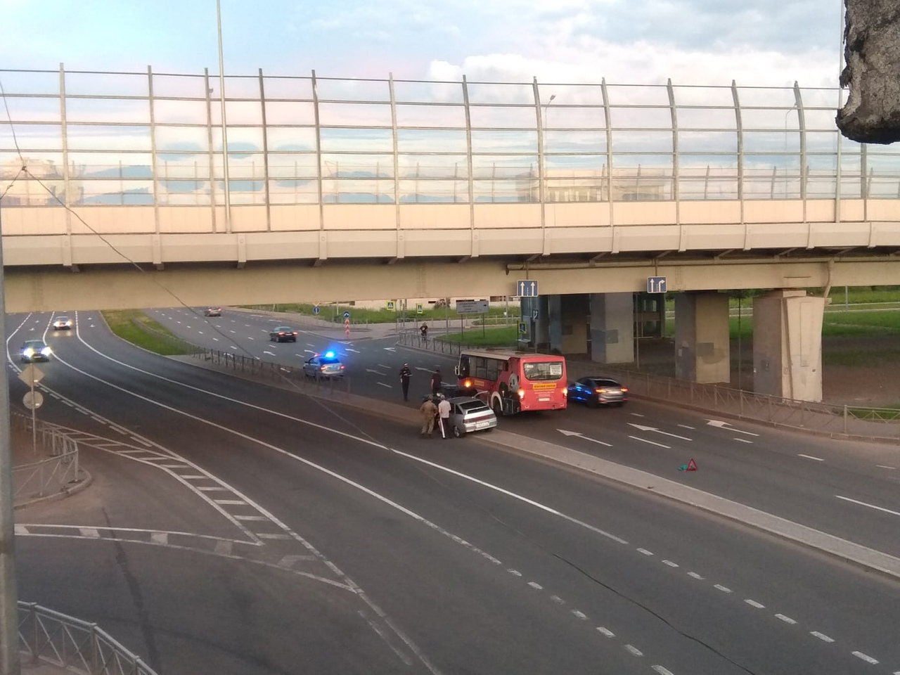 Очередное ДТП с маршруткой на пересечении Выборгского шоссе и Суздальского проспекта