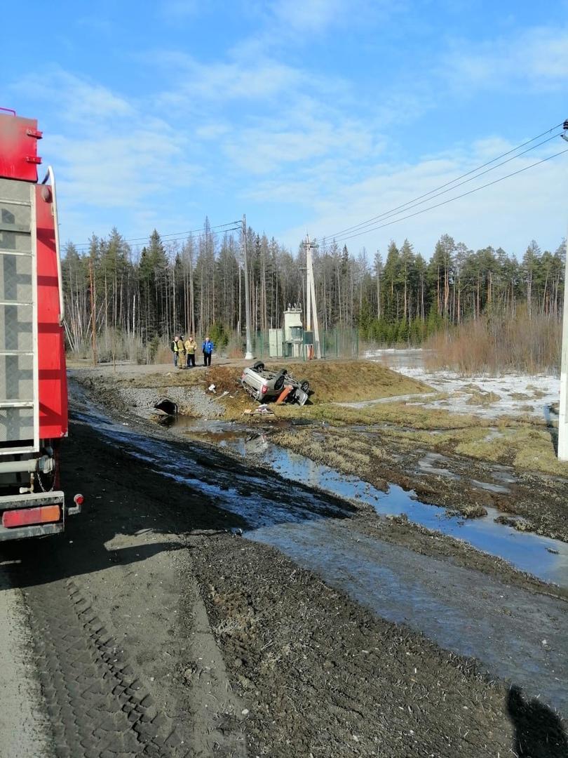 Смертельное ДТП на выезде из Петербурга: машина с иностранными номерами в кювете В аварии на трассе...