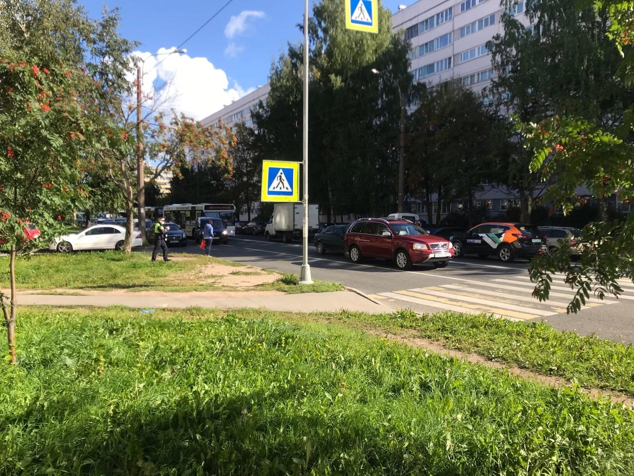 На Композиторов д20 Volvo пропускал пешеходов, водитель Audi ворон считал и влетел в зад Volvo. Со...