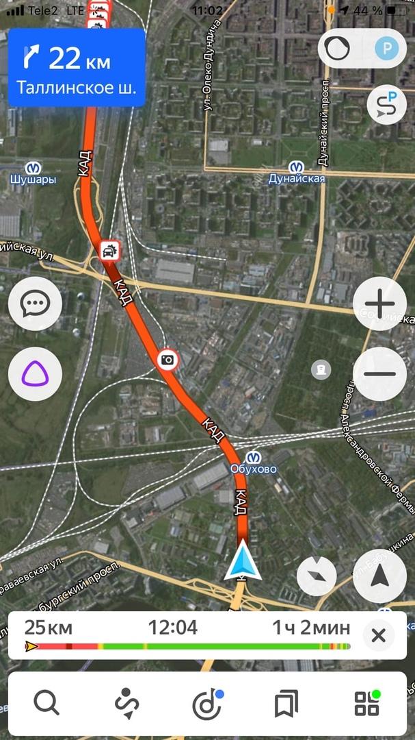 Внутренняя сторона КАД стоит от Вантового до Витебского.несколько аварий подряд. Лучше ехать через ...