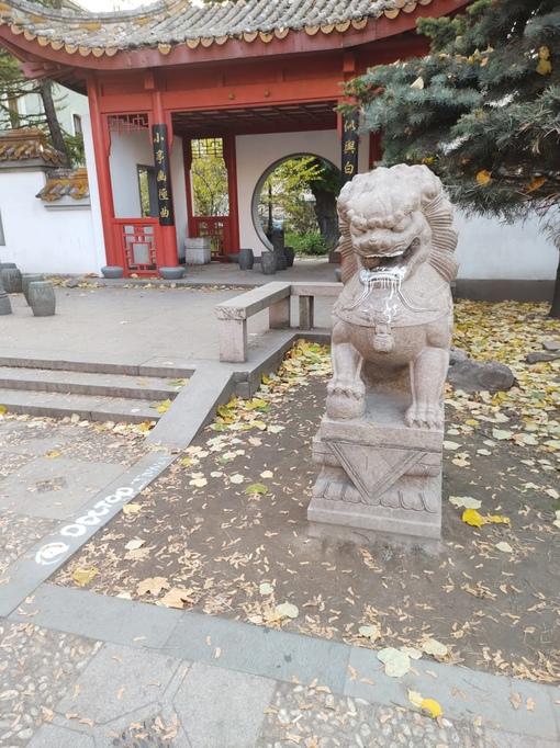 Петербургским львам замазали рты белой краской. Первая пара испачканных львов - в Саду дружбы на Ли...