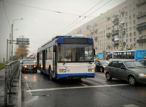 На проспекте Ветеранов, перед ул. Лёни Голикова, стало до коричневого плотно из-за притёртого тролле...