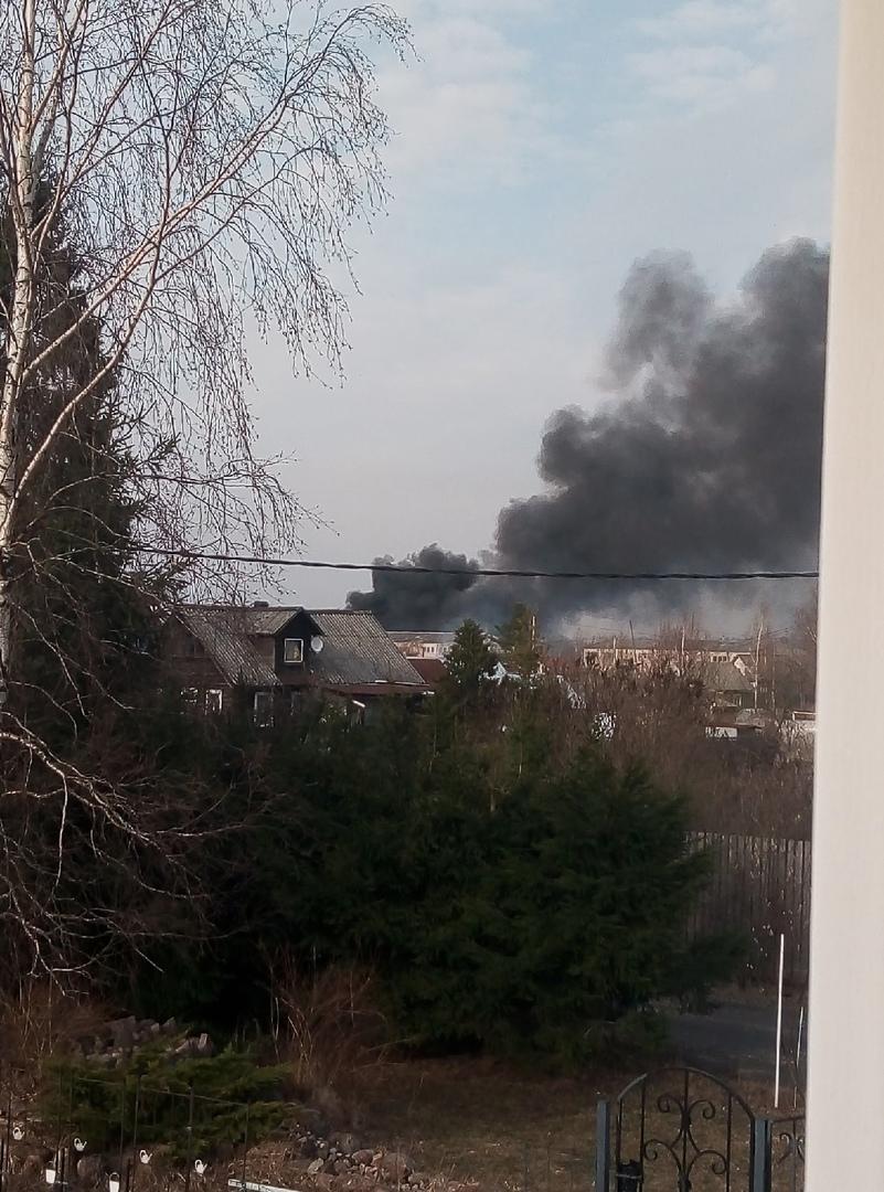 В деревне Старосиверская уже несколько часов горит поле. Координаты 59.375748, 30.091413