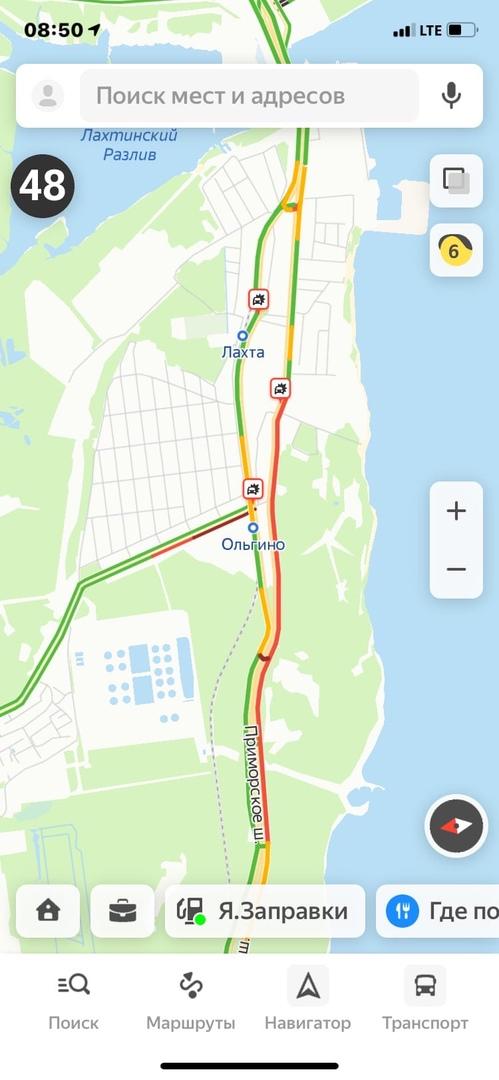 Из-за «жесткой» аварии на Приморском шоссе в город пробка на 2 км