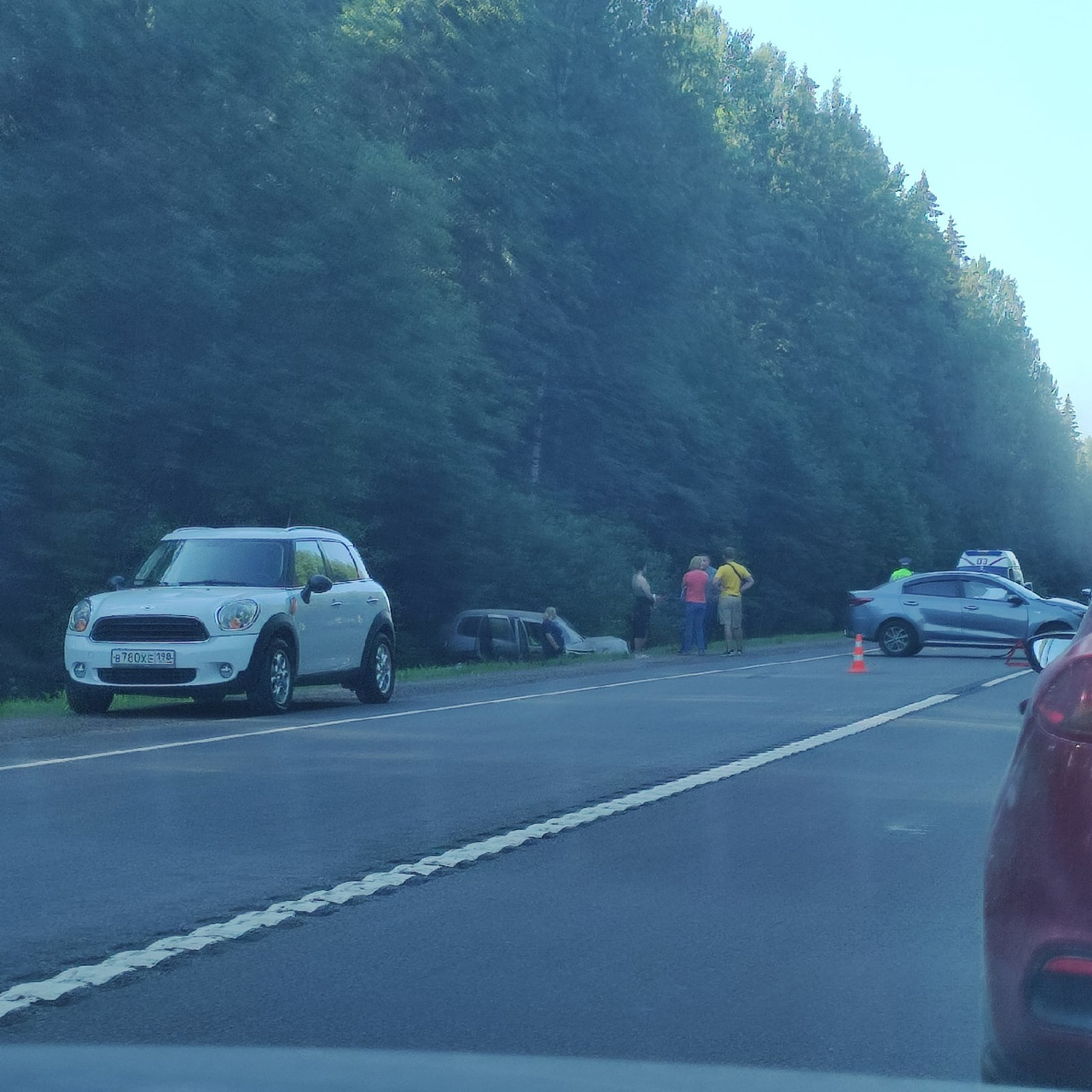 На Киевском шоссе, после Сорочкино, Лужского района столкнулись Рио и Шнива, та, что в кювете