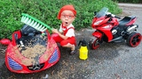 Car for kids Power wheels toy car wash pretend play buying motorbike w Dave Mario and brother