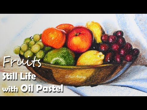 Still Life in Oil Pastel Fruits Painting step by step with color information