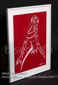 Материалы: канва красного цвета, мононить, бисер белого и серебристого цветов.  Схема к вышивке Схема найдена на...