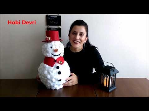 DIY Easy Snowman of ball - Top ve Pamuktan Kardan Adam Yapımı, Kendin Yap