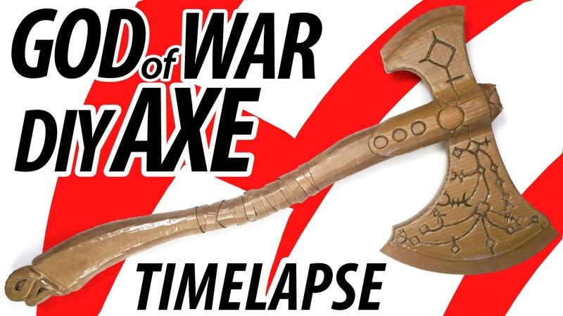 God of War 2017 Nordic Axe Time lapse - Diy Cardboard Sculpture