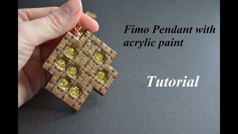 Polymer clay pendant acrylic paint Fimo Tutorial Anhänger Acrylfarbe кулон полимерная глина