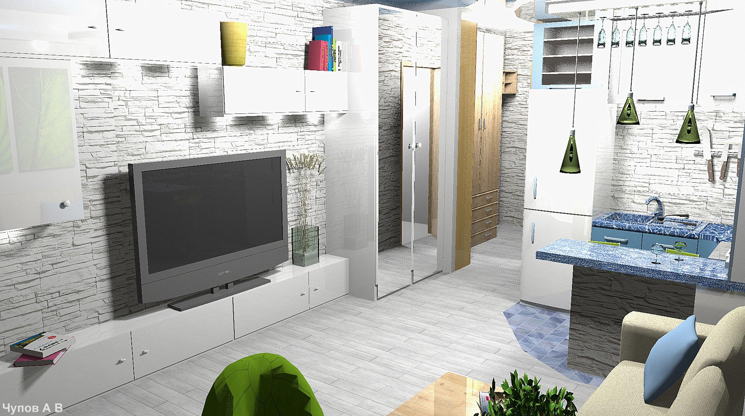 Проект маленькой квартиры студии 20 кв/м .