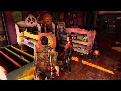 Ellie picks up Sam's robot toy - The Last of Us Remastered