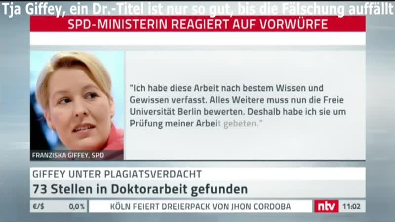 Schon wieder die SPD nur Lügner Betrüger Fälscher Heute Giffey und ihre Dr Arbeit