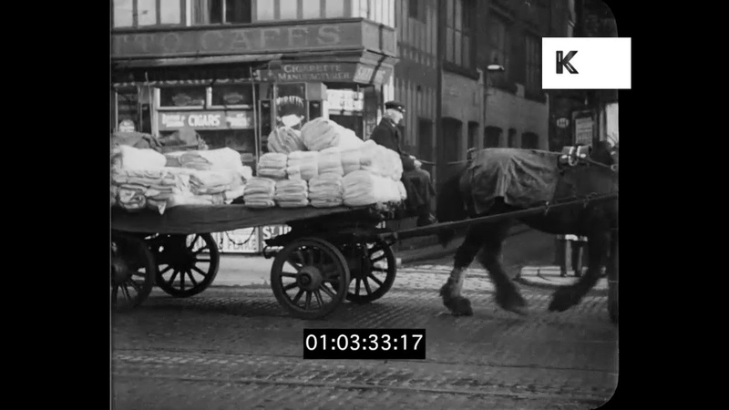 1930s North West England Streets, Horse Drawn Carts, HD