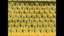 Узоры спицами Двухцветный узор с вытянутыми петлями Узор Бутончики