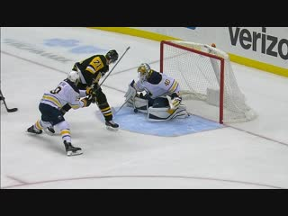 Evgeni malkin dangles between legs but cant beat carter hutton