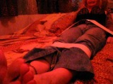 Bitch tickled on her soles feet with a feather