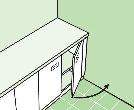 Оставьте пространство между стеной и последним ящиком (навесным или напольным), чтобы с легкостью открывать дверцы. Это пространство будет заполнено проводами или трубами.