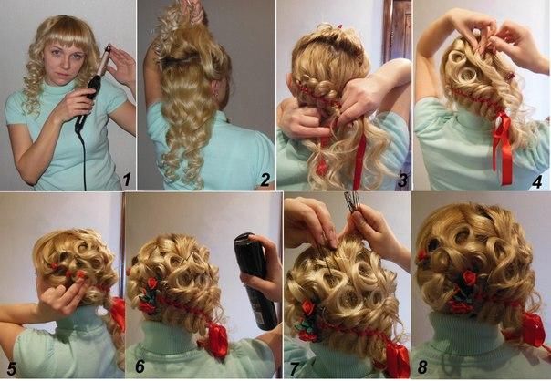 Как сделать вечернюю причёску самой себе фото пошагово