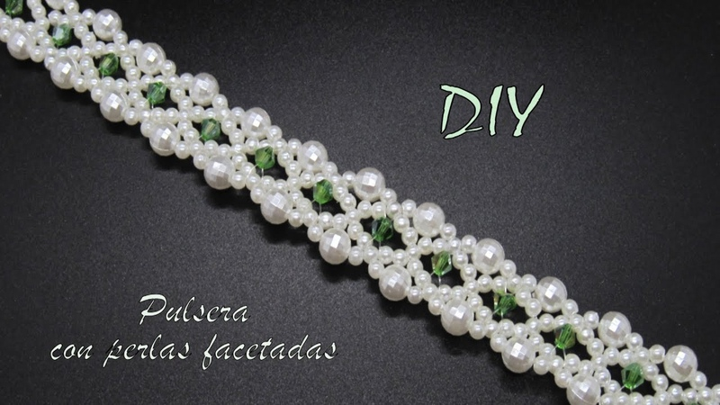 DIY - Pulsera con perlas facetadas- Bracelet with faceted pearls- سوار مع لآلئ الأوجه