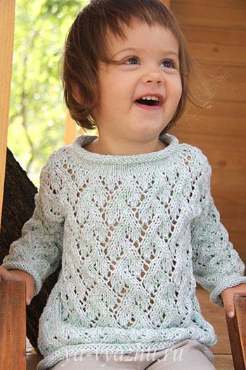 """Ажурный пуловер """"Мятное мороженое"""" для девочки 2-х лет."""