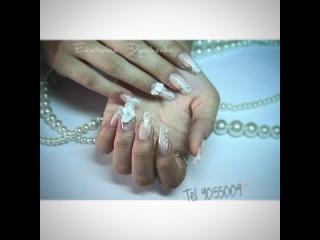 Слайдер-дизайн на нарощенные ногти. / Sticker nail art on acrylic nail
