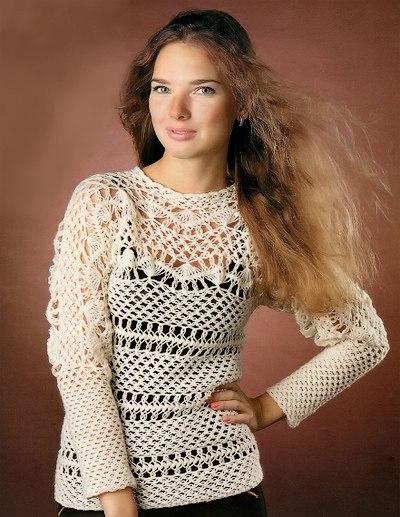 Вязание на вилке пуловер 496