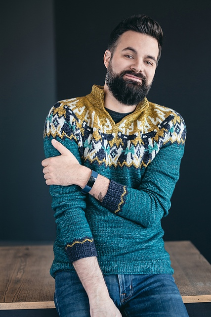 Мужской пуловер спицами Frankly my dee